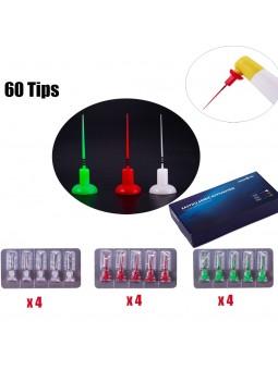 60Pcs Dental Endodontic Irrigator Tips For Sonic Activator Handpiece Use 0215/0425/0435 Tips Assorted 22mm No Break EASYINSMILE